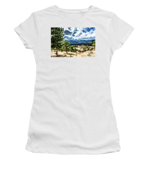 Women's T-Shirt (Athletic Fit) featuring the photograph Mountains Across The Way by James L Bartlett