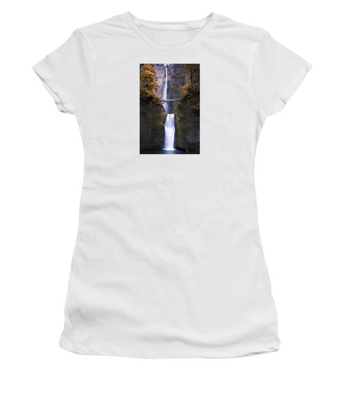 Women's T-Shirt (Athletic Fit) featuring the photograph Multnomah Falls Autumn Colors by Rospotte Photography