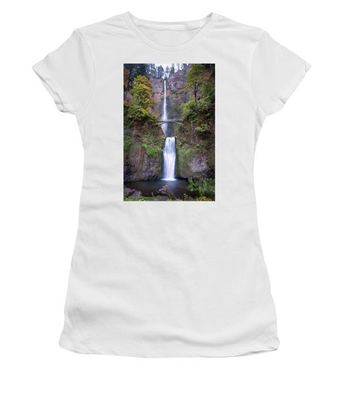 Women's T-Shirt (Athletic Fit) featuring the photograph Multnomah Fallas 110718 by Rospotte Photography