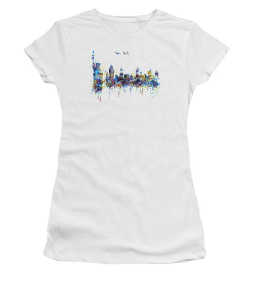 New York Watercolor Skyline Women's T-Shirt