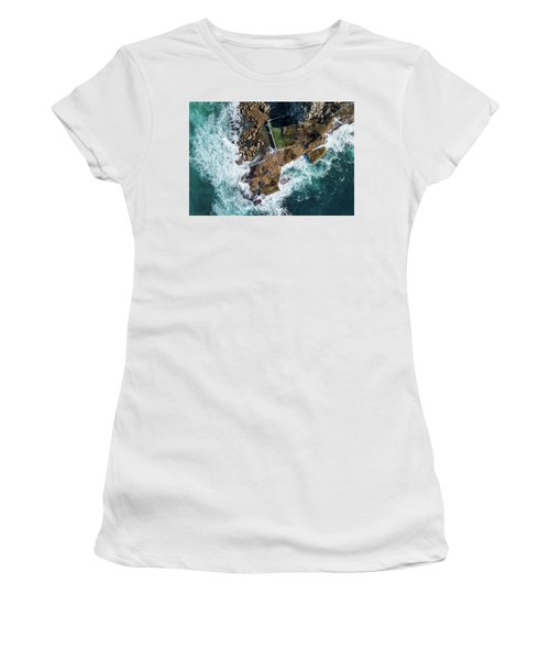 Women's T-Shirt featuring the pyrography North Curl Curl Pool by Chris Cousins
