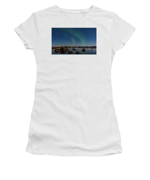 Northern Lights Over A Swamp  Women's T-Shirt