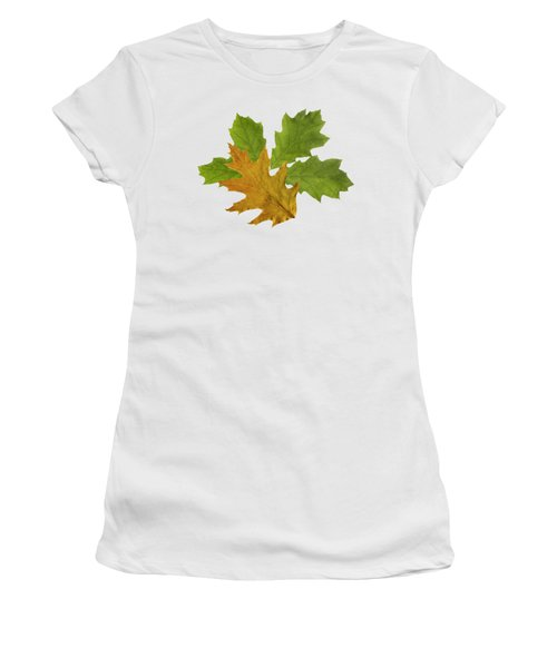 Women's T-Shirt featuring the mixed media Oak Leaves Patern by Christina Rollo