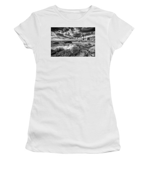 Women's T-Shirt (Athletic Fit) featuring the photograph October Morning At Marshall Point In Black And White by Rick Berk