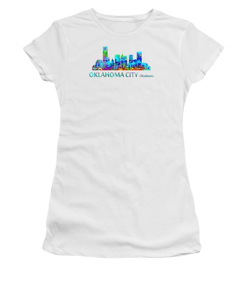 Women's T-Shirt featuring the digital art Oklahoma City Watercolor by David Millenheft