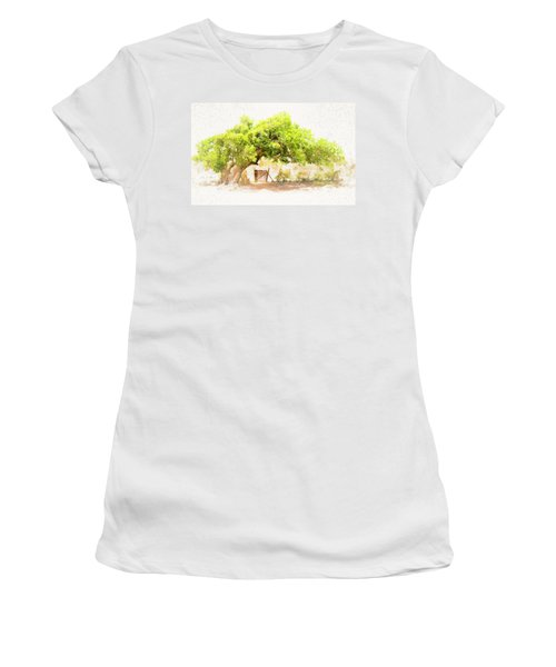 Old Leaning Tree At Sandy Hill  Anguilla Women's T-Shirt