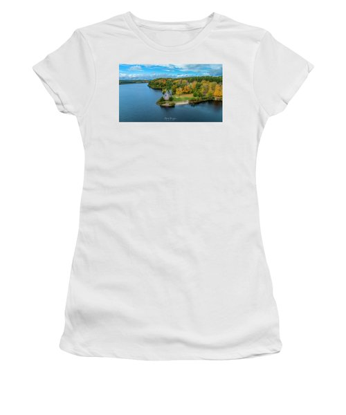 Women's T-Shirt (Athletic Fit) featuring the photograph Old Stone Church by Michael Hughes