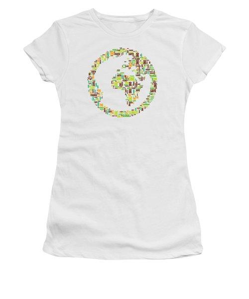 Women's T-Shirt featuring the digital art One Planet by Susan Maxwell Schmidt