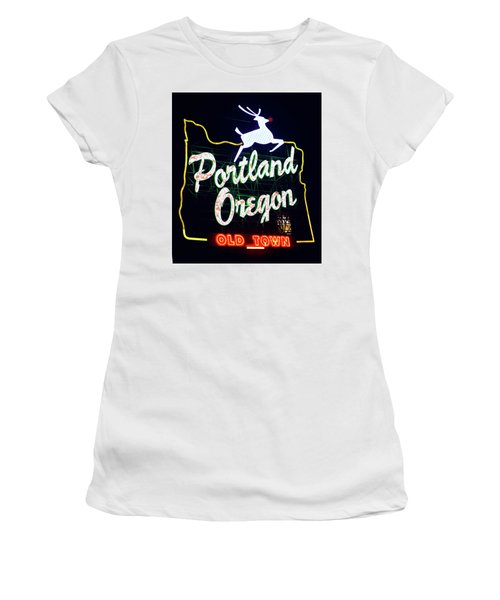 Women's T-Shirt (Athletic Fit) featuring the photograph Portland White Stag Red Nose Sign by Rospotte Photography