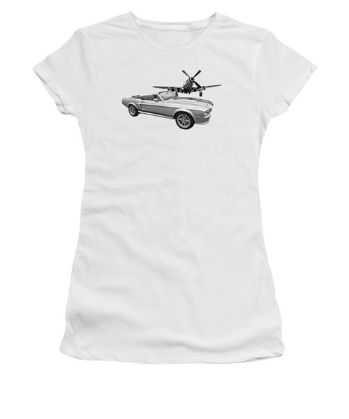 P51 Meets Eleanor In Black And White Women's T-Shirt