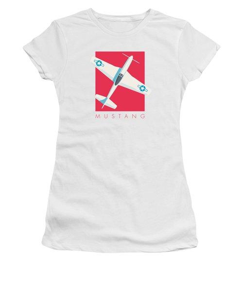 P51 Mustang Fighter Aircraft - Crimson Women's T-Shirt