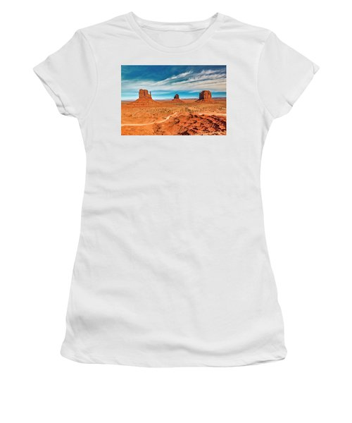 Women's T-Shirt (Athletic Fit) featuring the photograph Panoramic Monument Valley by Andy Crawford