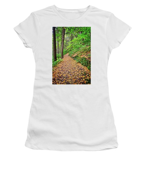 Women's T-Shirt (Athletic Fit) featuring the photograph Peaceful Autumn Trail At Watkins Glen State Park by Lynn Bauer