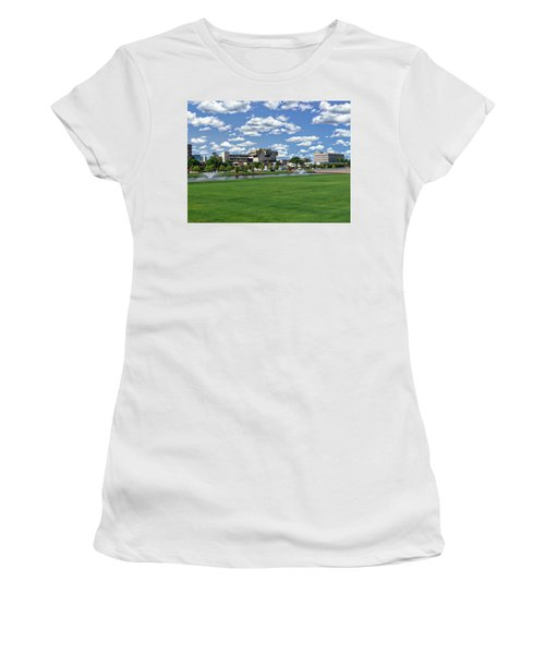 Women's T-Shirt (Athletic Fit) featuring the photograph Pensacola Financial District by Anthony Dezenzio