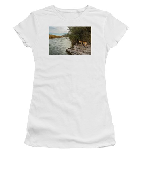 Women's T-Shirt featuring the photograph Photo Dog Jackson At The Rio Grande by Matthew Irvin