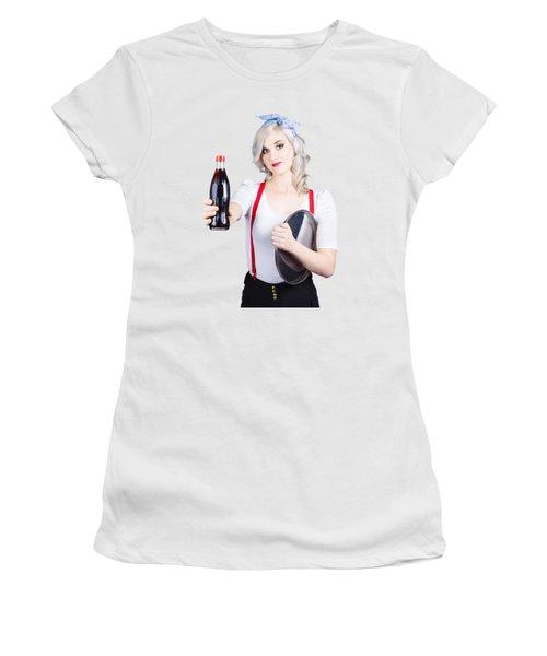 Pin-up Girl Holding Soft Drink Bottle Women's T-Shirt