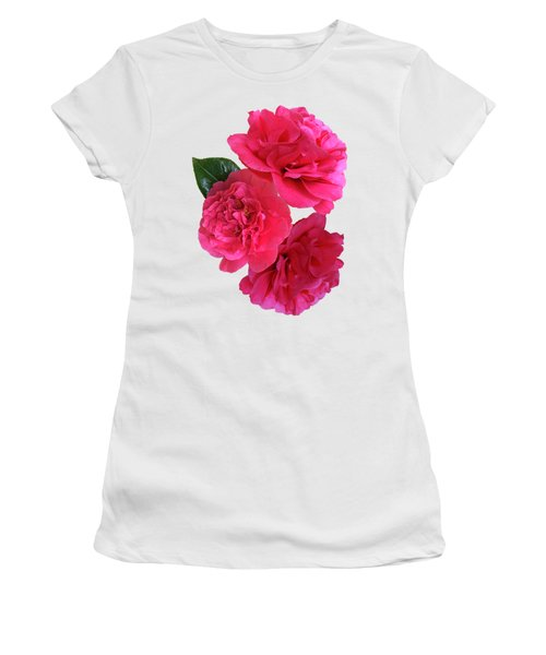 Pink Camellias On White Vertical Women's T-Shirt