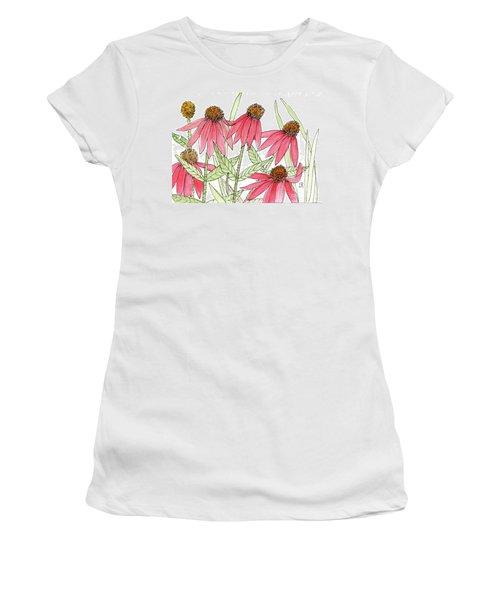 Pink Coneflowers Gather Watercolor Women's T-Shirt