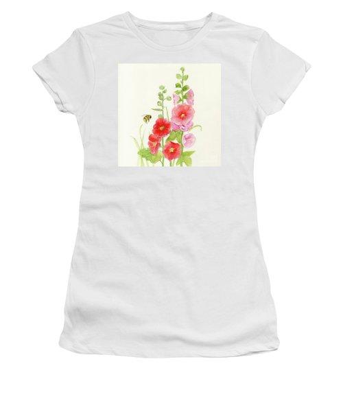 Pink Hollyhock Watercolor Women's T-Shirt