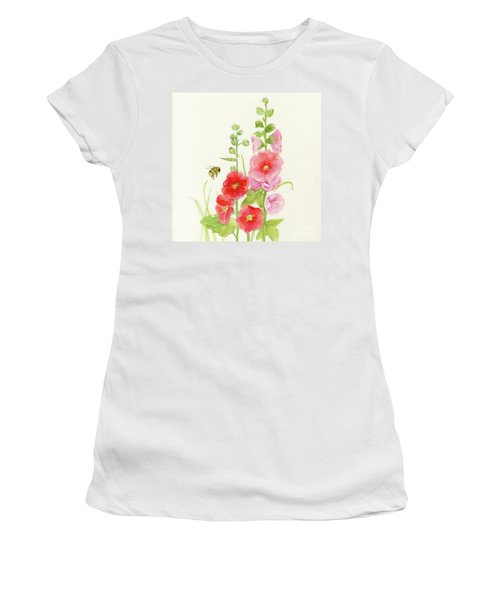 Pink Hollyhock Watercolor Women's T-Shirt