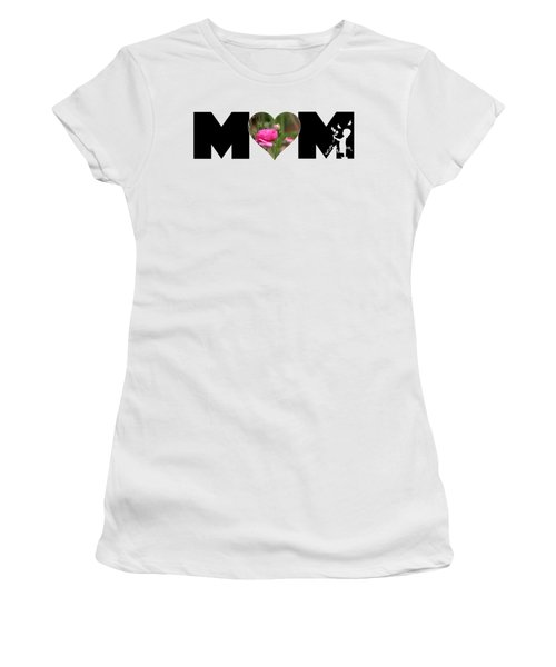 Pink Ranunculus In Heart Mom Big Letter-girls Women's T-Shirt