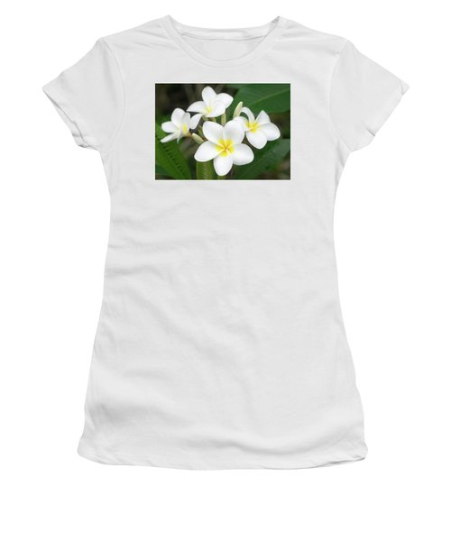 Women's T-Shirt (Athletic Fit) featuring the photograph Pleasing Plumeria by Denise Bird