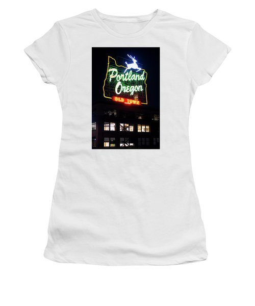 Women's T-Shirt (Athletic Fit) featuring the photograph Portland Oregon White Stag Sign 1123 by Rospotte Photography