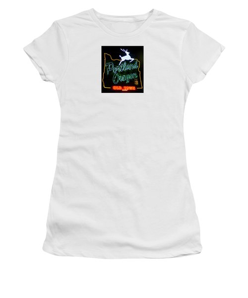 Women's T-Shirt (Athletic Fit) featuring the photograph Portland White Stag Sign 102518 by Rospotte Photography
