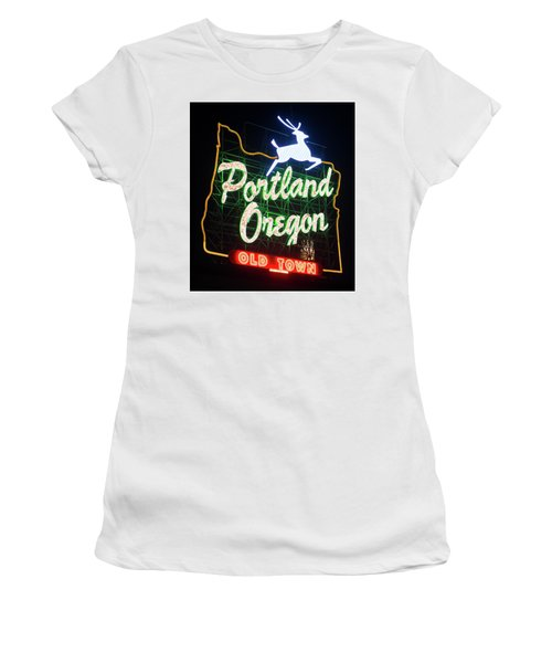 Women's T-Shirt (Athletic Fit) featuring the photograph Portland Whitestag Neon Gold 119 by Rospotte Photography