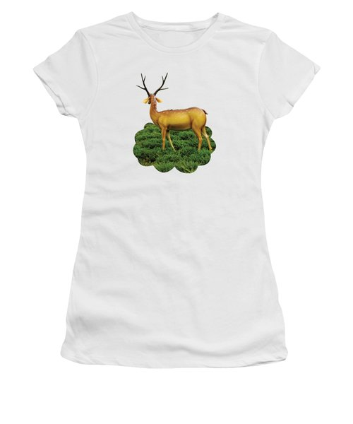 Pretty Deers Playing In The Forest. Women's T-Shirt