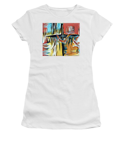 Women's T-Shirt featuring the mixed media Primary Colors by Jessica Eli