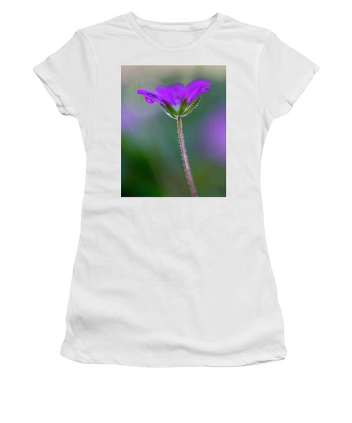 Women's T-Shirt (Athletic Fit) featuring the photograph Purple Flower by John Rodrigues