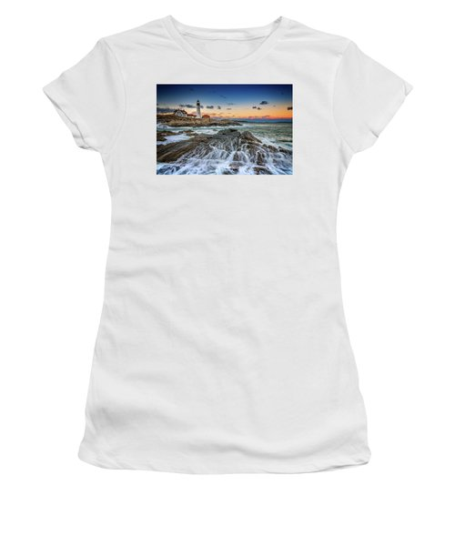 Women's T-Shirt (Athletic Fit) featuring the photograph Receding Cascade At Portland Head by Rick Berk