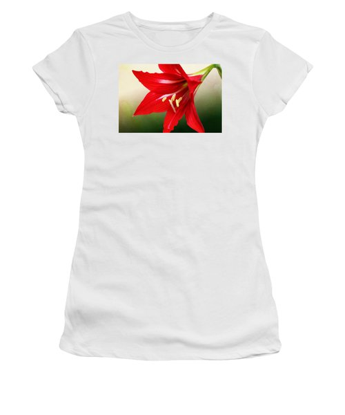Women's T-Shirt featuring the photograph Red Lily Flower by Debi Dalio