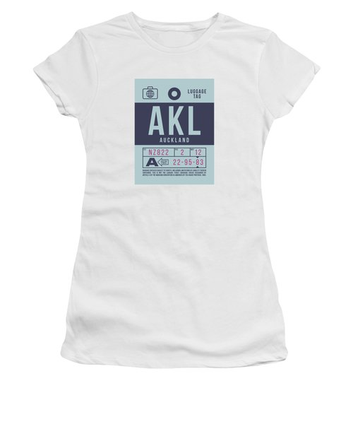 Retro Airline Luggage Tag 2.0 - Akl Auckland New Zealand Women's T-Shirt