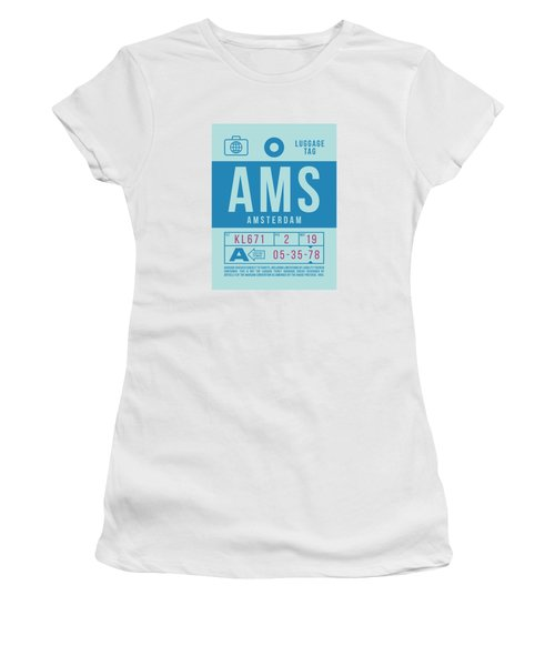 Retro Airline Luggage Tag 2.0 - Ams Amsterdam Netherlands Women's T-Shirt