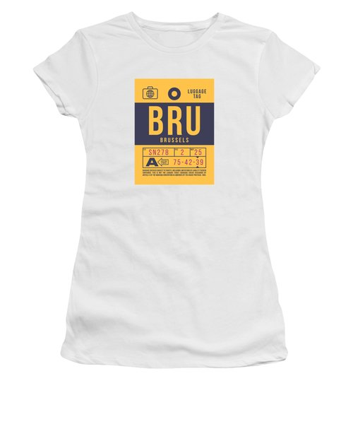 Retro Airline Luggage Tag 2.0 - Bru Brussels Belgium Women's T-Shirt