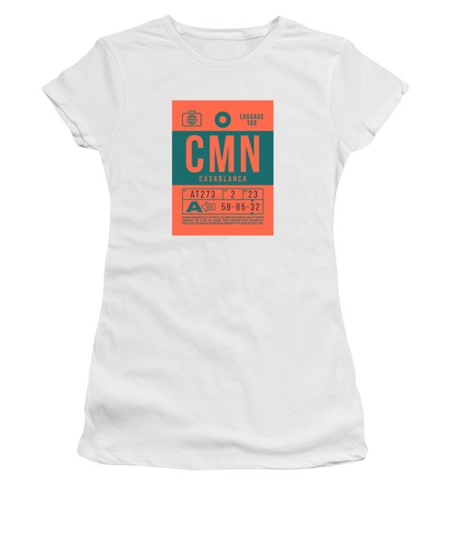 Retro Airline Luggage Tag 2.0 - Cmn Casablanca Morocco Women's T-Shirt