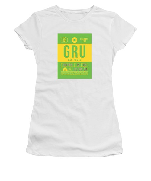 Retro Airline Luggage Tag 2.0 - Gru Sao Paulo Brazil Women's T-Shirt