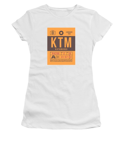 Retro Airline Luggage Tag 2.0 - Ktm Kathmandu Tribhuvan Nepal Women's T-Shirt