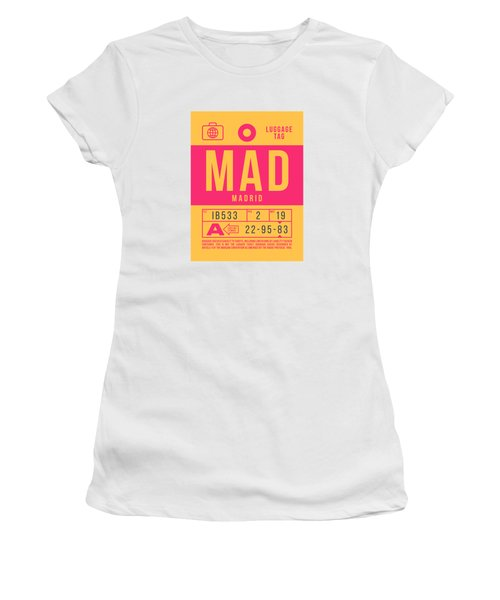 Retro Airline Luggage Tag 2.0 - Mad Madrid Barajas Airport Spain Women's T-Shirt
