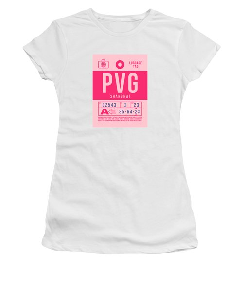 Retro Airline Luggage Tag 2.0 - Pvg Shanghai International Airport China Women's T-Shirt