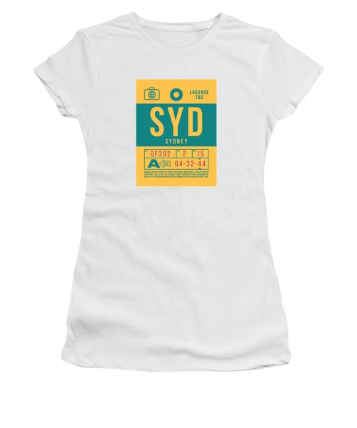 Retro Airline Luggage Tag 2.0 - Syd Sydney Kingsford Smith Airport Australia Women's T-Shirt