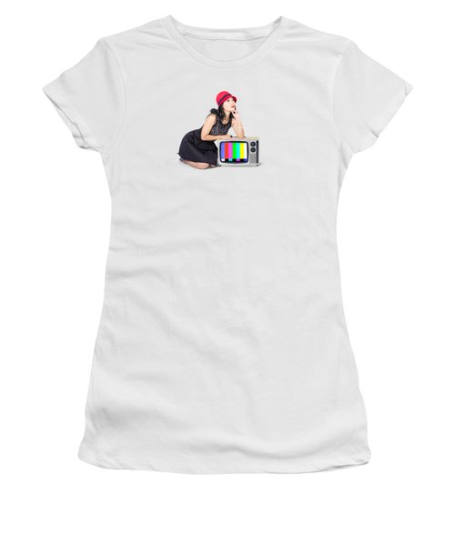 Retro Fashion Communication. Girl On Television Women's T-Shirt