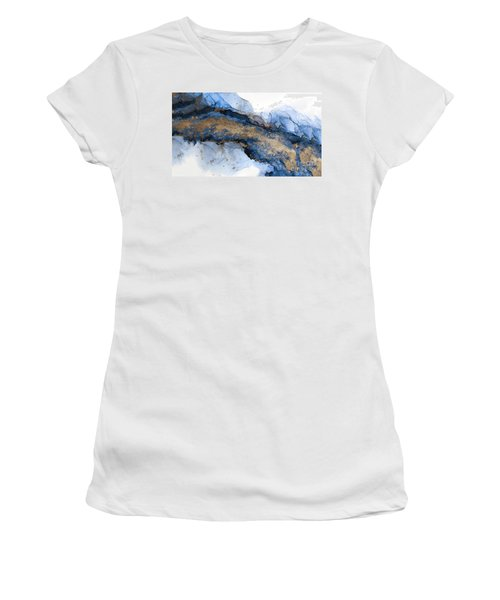 River Of Blue And Gold Abstract Painting Women's T-Shirt