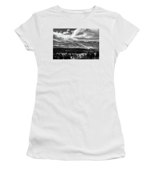 Women's T-Shirt (Athletic Fit) featuring the photograph Rocky Foothills Bw by James L Bartlett