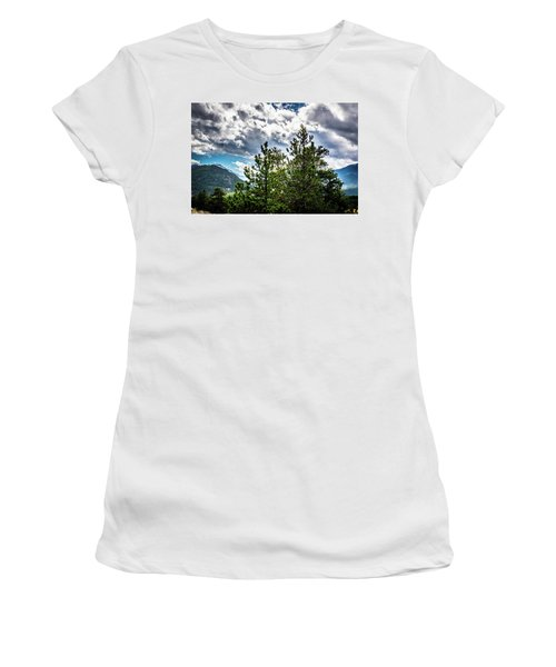 Women's T-Shirt (Athletic Fit) featuring the photograph Rocky Mountain Pines by James L Bartlett