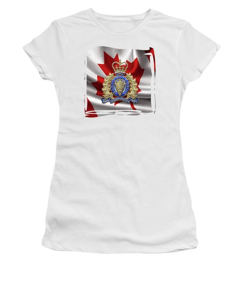 Royal Canadian Mounted Police -  R C M P  Badge Over Canadian Flag Women's T-Shirt
