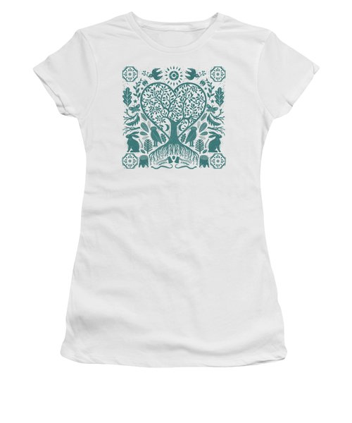 Rustic Early American Tree Of Life Woodcut Women's T-Shirt