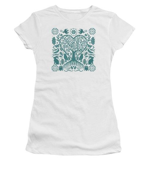 Rustic Early American Tree Of Life Woodcut Women's T-Shirt